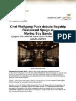 Chef Wolfgang Puck Debuts Flagship Restaurant Spago at Marina Bay Sands