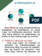 Mga Salik Na Nakaaapekto Sa Klima