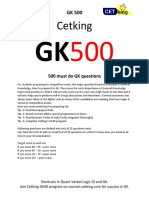 GK500 Cetking Must Do 500 Questions for GK in Last Minute