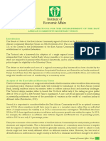 Memorandum on the Protocol for the Establishment of the East African Community Monetary Union