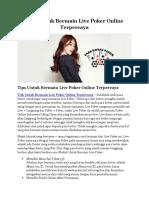 Cara Untuk Bermain Live Poker Online Terpercaya