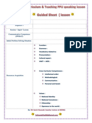 2 Generation Curriculum & PPU Lesson Plan& Guided Sheet