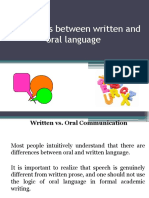 Differences Between Written and Oral Language