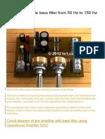 Circuit Adjustable Bass Filter From 50 Hz to 150 Hz NE5532
