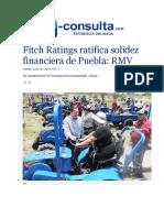 30-06-2016 E-Consulta - Fitch Ratings Ratifica Solidez Financiera de Puebla; RMV
