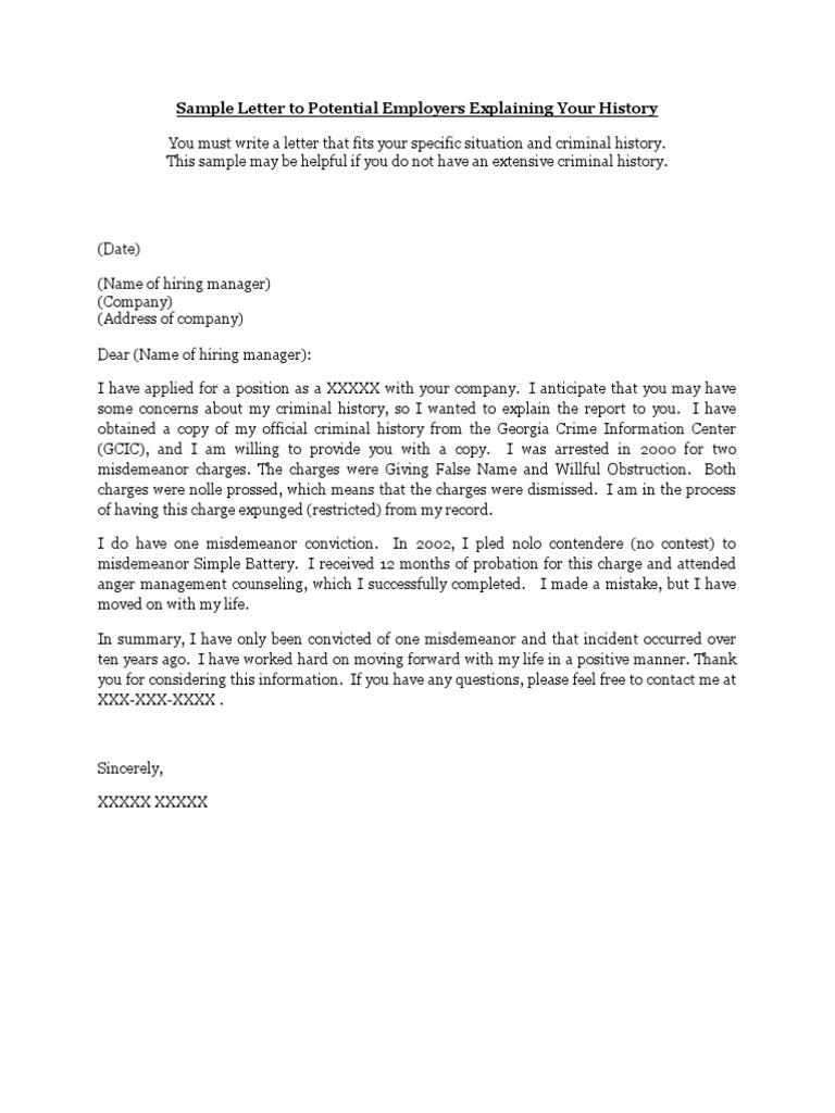 Sample 1 explanation letters criminal record crimes spiritdancerdesigns Images