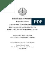 """ACTIVIDADES EXPERIMENTALES EN EDUCACIÓN INFANTIL. PROYECTO EDUCATIVO """"DESCUBRIENDO EL AGUA"""""""