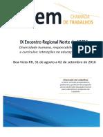 Chamada de Trabalhos Encontro Regional Norte - 2016