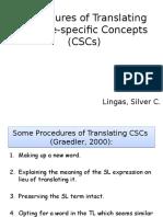 Procedures of Translating Culture-specific Concepts (CSCs) (1)