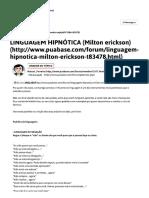 Linguagem Hipnótica (Milton Erickson)