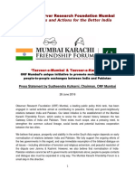 ORF - Mumbai Karachi Friendship Forum Press Release 28 6 2016