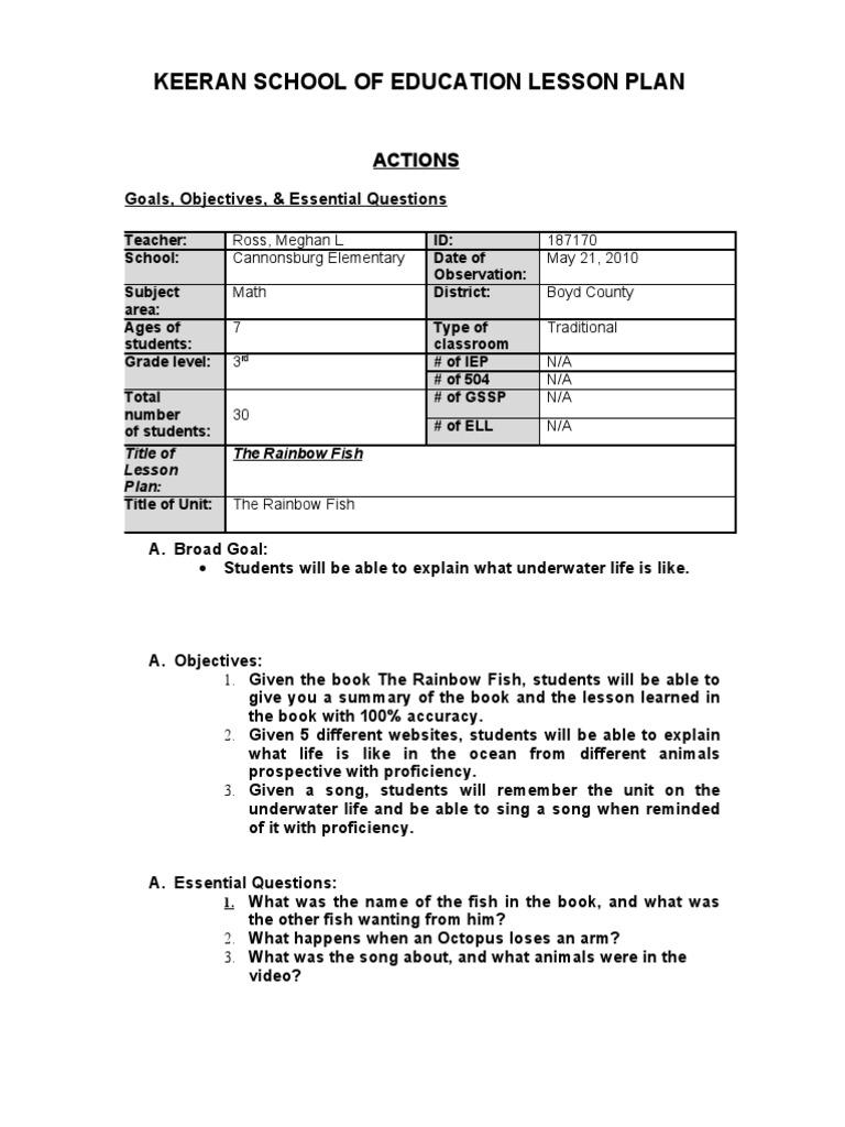 The rainbow fish lesson plan educational assessment fish for Rainbow fish lesson plans