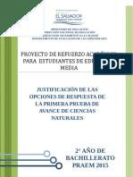 Justificacion Avance1 Ciencias Naturales 2015
