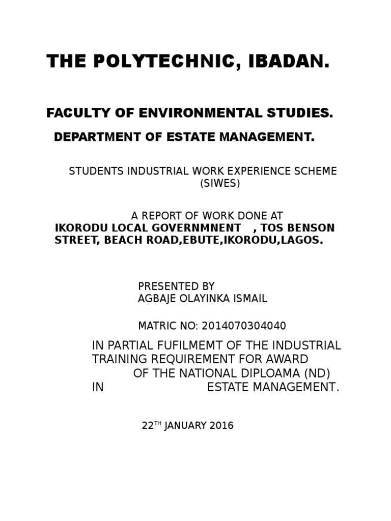 Siwes report on estate management