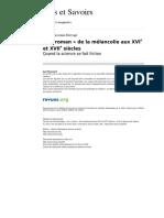 Aes 343 5 Le Roman de La Melancolie Aux Xvie Et Xviie Siecles