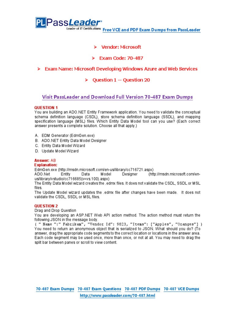 70 487 Exam Dumps With Pdf And Vce Download 1 20 Entity
