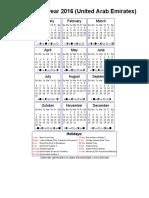 Calendar – United Arab Emirates