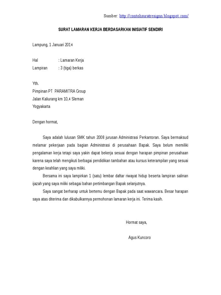Conto Surat Lamaran Kerja Yang Baik Dan Benar
