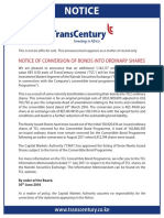 TransCentury Ltd. - Notice of Conversion of Bonds Into Ordinary Shares