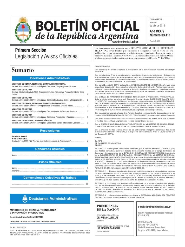 Boletín Oficial de la República Argentina, Número 33.411. 04 de ...
