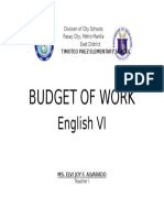 Budget of Work ENG VI