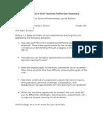 unit teaching reflective summary-earth