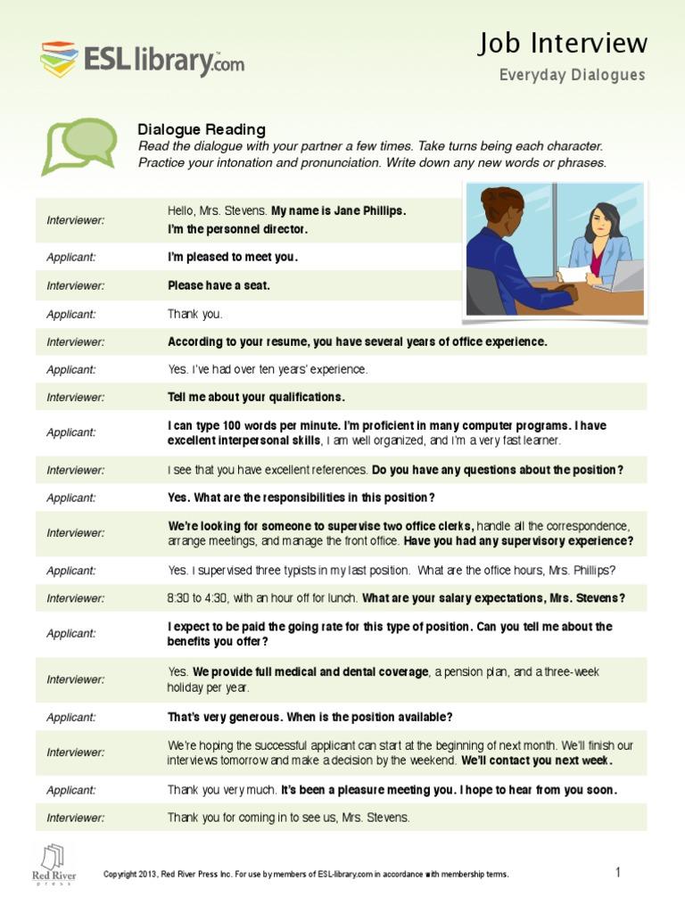 job interview lesson ESL Library.pdf | Job Interview