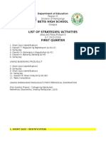 List of Evaluation FIRST Quarter