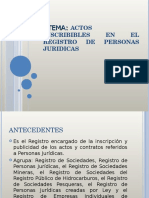ACTOS INSCRIBIBLES EN EL REGISTRO DE PERSONAS JURIDICAS