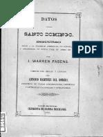 Warren Fabens - Datos Santo Domingo Discurso Sociedad Americana de Geografia y Estadistica Nueva York Abril 1862