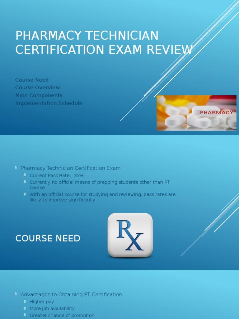 Pharmacy Technician Certification Exam Review Slide Presentation
