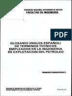 Glosario Inglés Esañol de Terminos Tecnicos Empleados en La Ingenieria de Explotacion Del Petroleo