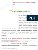 CTRI Technician Syllabus PDF _ ICAR CTRI New Exam Pattern