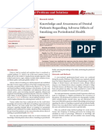 Knowledge and Awareness of Dental Patients Regarding Adverse Effects of Smoking on Periodontal Health