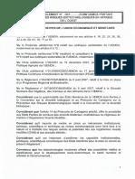 Projet de Règlement de l'UEMOA Sur La Bio Securité