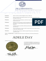 Proclamation for 'Adele Day' in Minnesota