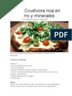 Pizza Crudívora Rica en Hierro y Minerales
