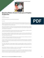 03/07/16 Reactiva Maloro Acosta Fondo para el Empleo Productivo -Critica