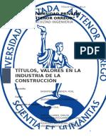 Titulos Valores en la Industria de la Construcción