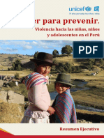 Entender Para Prevenir Violencia Hacia Ninos Ninas y Adolescentes en El Peru Resumen Ejecutivo