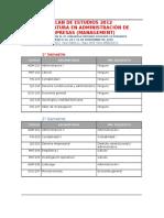 Plan de Estudios Ade UMSA