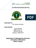 Impacts of Privatization on PTCL