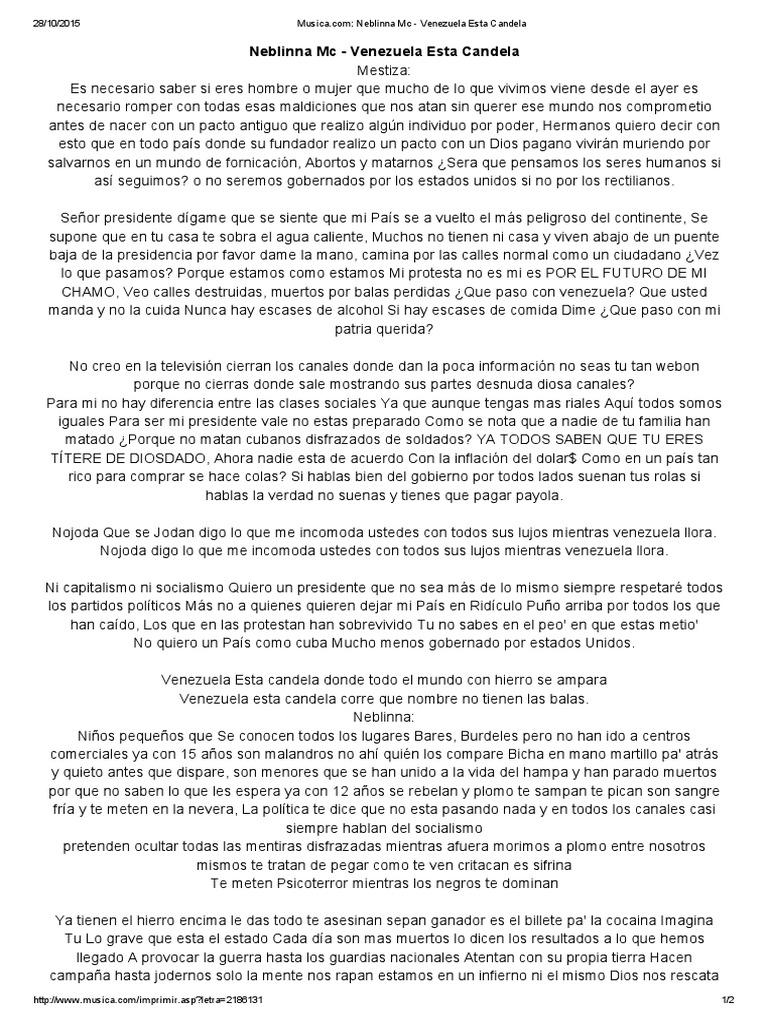 Letra De Venezuela Esta Candela De Neblinna Mc Musica Venezuela