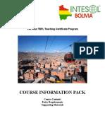 Intesol Bolivia Information Pack - Dates and Syllabus