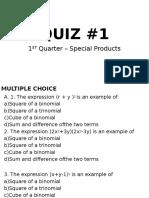 Quiz #1-Special Products