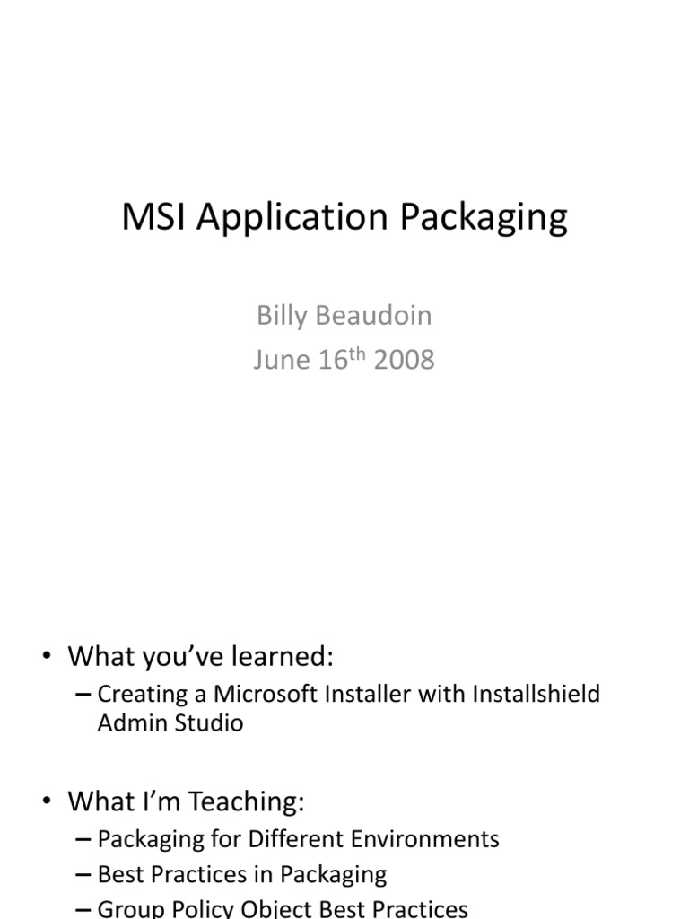 MSI Application Packaging pdf | Windows Registry | Group Policy
