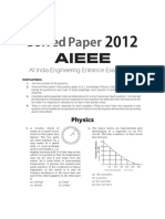 JEE MAINS Solved Paper 2012