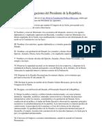 Facultades y Obligaciones Del Presidente de La Republica