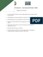 Secretarial Order 3336 - Table of contents