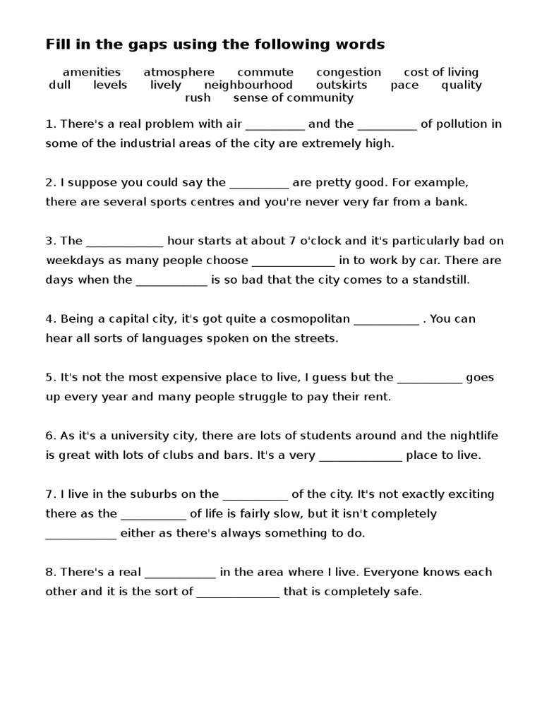 Grade 7 Village and City Worksheet | Shopping Mall | Apartment